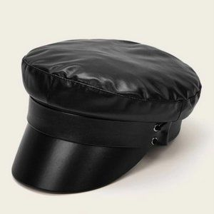 Black Faux Leather Baker Boy Sailor Cap